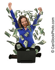 The woman in front of the laptop with fly out dollars It is...
