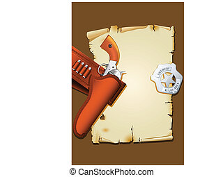 Wild west poster with handgun and sheriff badge