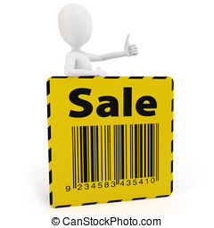 3d man with yellow sale sign on white background