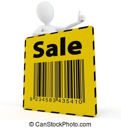 3d man with yellow sale sign