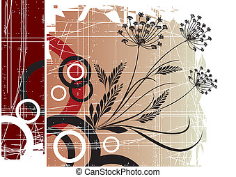Abstract flowers with butterflies