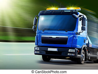 breakdown vehicle - New blue breakdown vehicle with yellow...