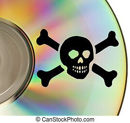Cd piracy - Part of cd with pirate sybol impressed