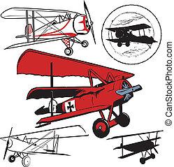 Biplanes - Clip art set of various vintage airplanes
