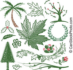 Greenery Collection - Clip art collection of various leaves,...