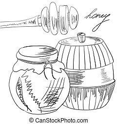 Sketch with glass jar full of honey and stick