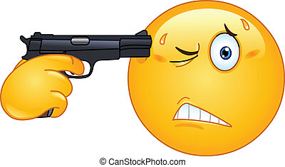 Suicide emoticon - Emoticon pointing a gun on his head