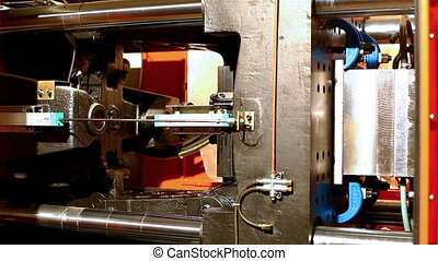 squeeze molding machine prepare plastic detail on plywood...