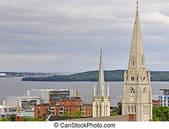 Halifax chruch steeples - view across downtown Halifax past...