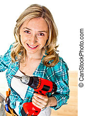 woman on duty - smiling young caucasian woman at work