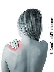 Shoulder ache - Woman pressing her hand against a painful...