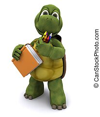 Tortoise with school book and crayons - 3D render of...