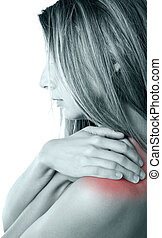 Shoulder pain - Woman pressing her hands against a painful...