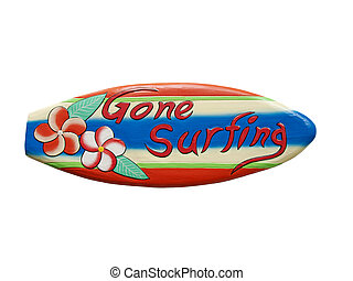 Gone surfing sign - hand painted miniature surfboard with...