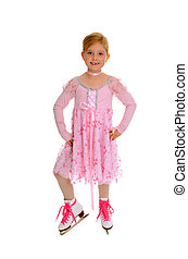 Child Figure Skater in Pink Costume - Seven Year Old Figure...