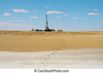 Drilling in the desert. - Mobile plant in underground repair...