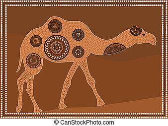 Dreamtime - dromedary - aboriginal dot painting style