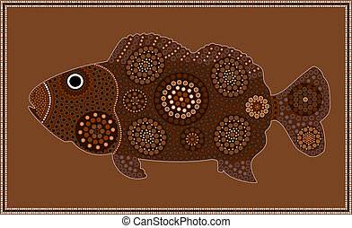 Dreamtime - fish - dot painting style