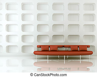 sofá, Retângulo, vermelho
