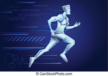 Hi Tech Man - illustration of iron man running on...