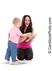 mother son read book - beautiful happy mother with child 2...