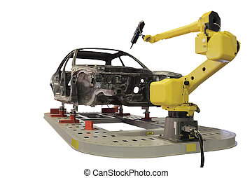 welding robot - The image of welding robot welds the car...