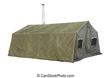 milittary tent - The image of milittary tent under the white...