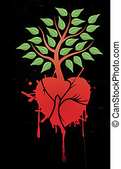 tree with red heart