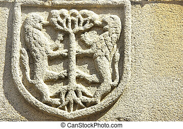 Medieval blazon in old door,Portugal