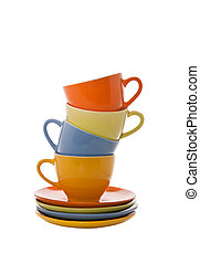 colorful cups pyramid - Set of colorful cups pyramid...
