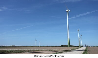 Wind turbine farm - Wind turbines farm generating...