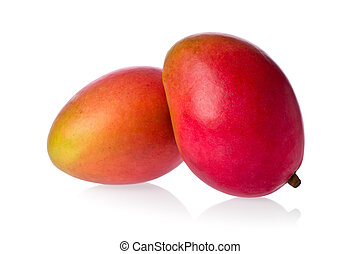Two Mangos - Two whole mangos against a white background