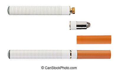 Electronic cigarette with parts isolated on a white...