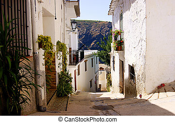 Simply street in one of mountain small towns in Spain