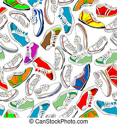 Seamless shoes - Seamless pattern with sport shoes, snikers...