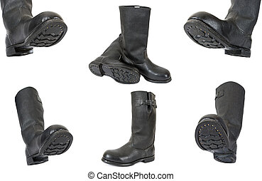 Black army boots on white background