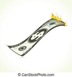 Burning Dollar - illustration of burning dollar showing...