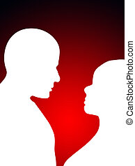 Loving Heads  - A man and a women in love.
