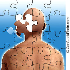 Puzzle Mind - Conceptual image about losing your mind or...