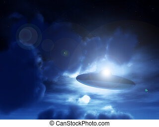 Nightime UFO - A view of a UFO amongst some moonlit clouds