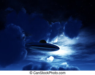 Nighttime UFO - A view of a UFO amongst some moonlit clouds....