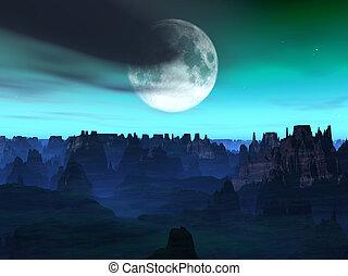 Alien World Landscape - A landscape on a remote alien world.