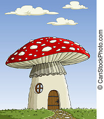 House Amanita - Great house mushroom Amanita muscaria,...