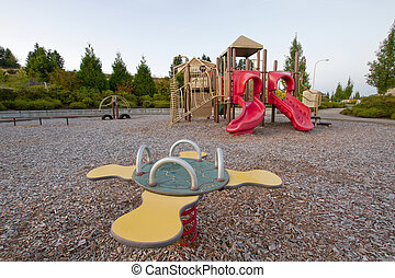 Neighborhood Public Park Children's Playground in Suburban...