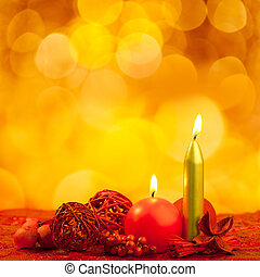 Christmas candles symbol with red leaves