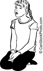 sketch of the blond girl with her mouth open