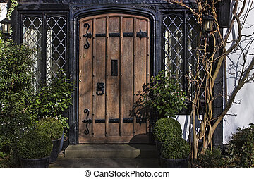 Entrance to Tudor house in England London