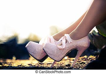Close up of a pink high heels with diamons - Close up of a...