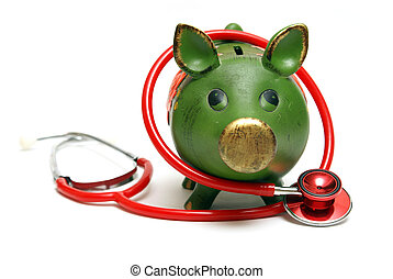 Emergency Fund - A piggy bank and stethoscope are isolated...
