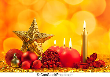 christmas golden star with red candles